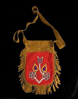 Old Vtg Native American Cree Ojibway Great Lake Indian Beaded Bag Pouch Beadwork