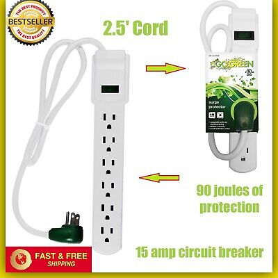 Heavy Duty 6 Outlet Surge Protector Power Strip 6ft ETL and CETL 125VAC // 15A