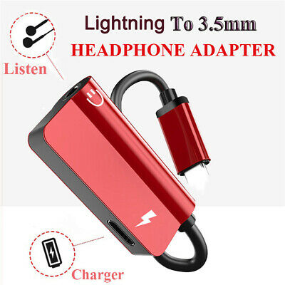 Lightning to 3.5mm Splitter AUX Adapter Headphone Jack For iPhone 7 8 Plus Xs XR