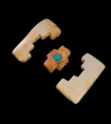 Rare Ancient Pre Columbian Inca Spondyllus & Shell 5 Hole Pendant  Chakana Cross