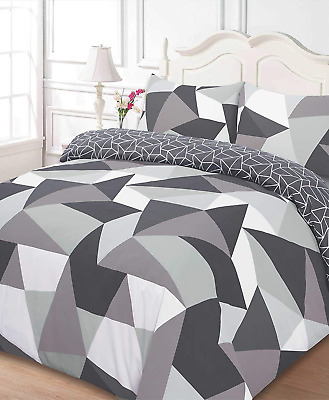 Dreamscene Polycotton Duvet Cover with Pillow Case Bedding Super King - Shapes