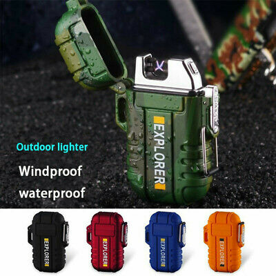 Electric USB Rechargeable Dual Arc Plasma Windproof Flameless Cigarette Lighter