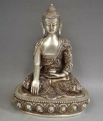 Exquisite Tibetan Silver Sakyamuni Buddha Statue antique excellent Statues RT