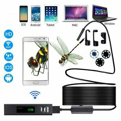 LED HD Wireless USB Endoscope WiFi Borescope Inspection Camera fr iPhone Android