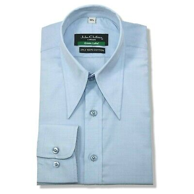 Men Spearpoint Vintage collar shirt Sky Blue Cotton 1930s WWII Replica for Gents