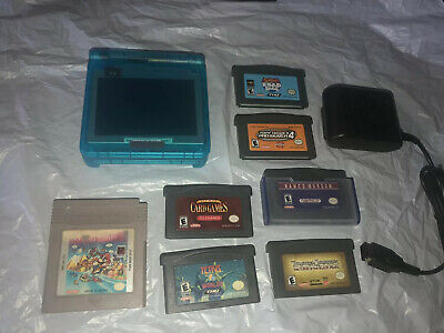 Clear Blue GLOW Nintendo Game Boy Advance SP + 7 games AGS-101 Bright Screen!
