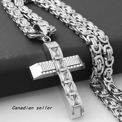 Trend Necklace Silver Cross Pendant Stainless Steel Byzantine Chain jewelry