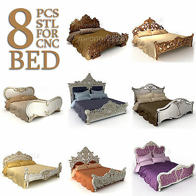 3d STL Model 8 Pcs Bed Collection for CNC Router Aspire Cut3d Artcam SALE!