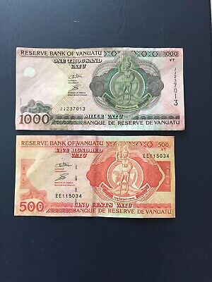 1000 & 500 Denomination Vanuatu Bank Notes. Ideal For An Avid Note Collector.