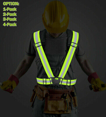 Adjustable Safety Security High Visibility Reflective Vest Outdoor Night Running
