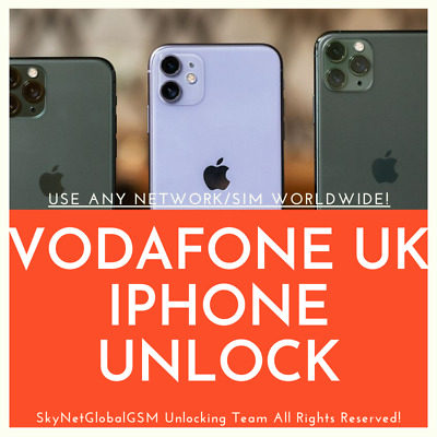 Vodafone UK UNLOCK SERVICE for iPhone 11/11 Pro/11 Pro Max/Xs/Xr/Xs Max/X/8/7/6