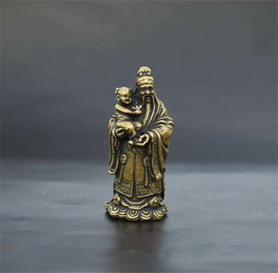 Archaize brass god of wealth hug child small statue