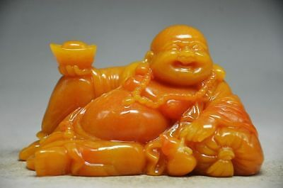 Collectible Shoushan Stone Hand Carved Maitreya Buddha Statue