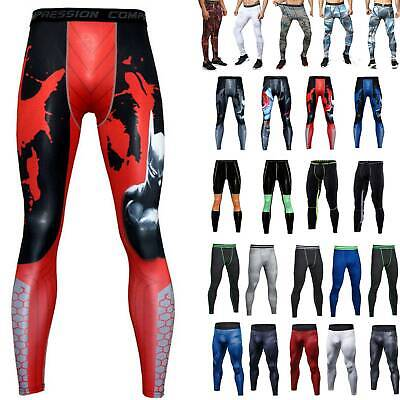 AU Mens Gym Compression Tight Base Layer Sports Leggings Training Pants Trousers