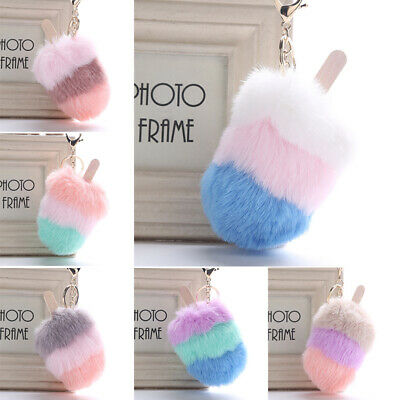 Cute Fluffy Faux Fur Ice Cream Popsicle Pompom Bag Pendant Car Key Chain Gift