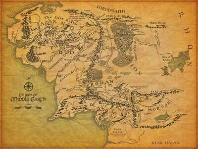 Poster the Lord of the Rings Lotr Map Terra by half Print Film #4
