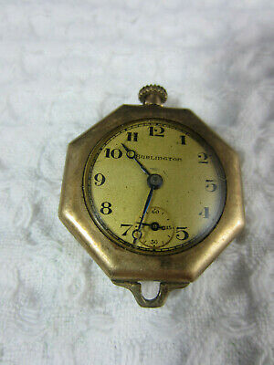 vintage Burlington ladies necklace watch pocket watch non running goldtone case