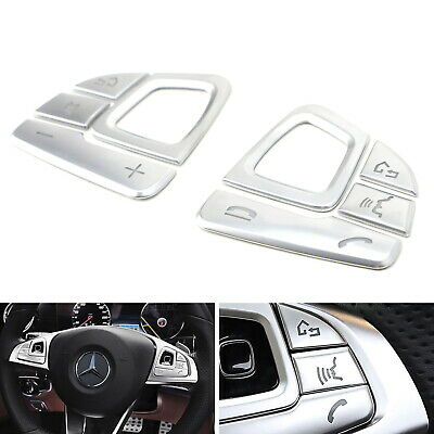 Silver 8pc Steering Wheel Control/Button Trims For 2017-up Mercedes W213 E-Class
