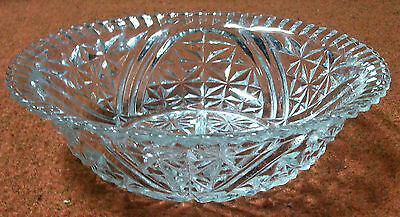 Vintage ANCHOR HOCKING CRYSTAL Clear STARS & BARS SALAD/SERVING BOWL - NICE!!!