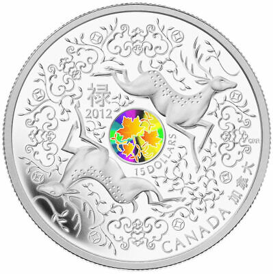 Canada 2012 $15 Maple of Good Fortune Pure Silver Coin Tax Exempt w/ COA