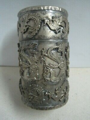 Antique Chinese Box in Silver with dragons and roosters in relief