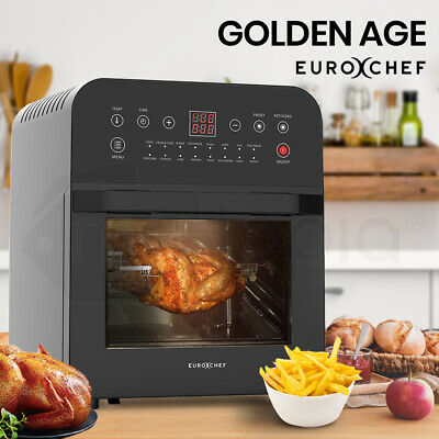 EUROCHEF 12L Air Fryer Electric Digital Airfryer Rotisserie Large Big Dry Black