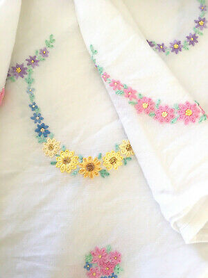 LINEN TABLECLOTH 1950s Ring of pastel flowers Hand Embroidered 95cm sq