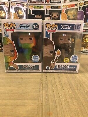 FUNKO POP MYTHS BIGFOOT Set Holding Marshmallow GITD, And Rainbow Funkoshop