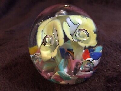 "Art Glass Blown Paperweight Round 2 1/4"" Multi-Color Trumpet Flowers Bullicante"