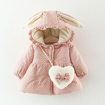 Toddler Kids Baby Girls Ruched Rabbit Ear Hooded Warm Cotton Coat Outwear+Bag US