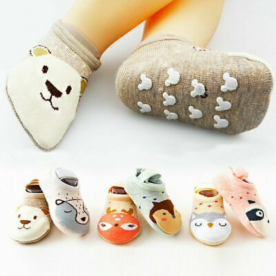Cute Newborn Baby Kids Toddler Non-slip Shoes Cartoon Slipper Floor Socks Boots