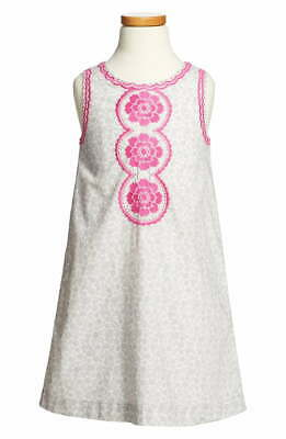 Mini Boden Girl's Gray & White Shift Dress with Pink Embroidery Size 9-10Y