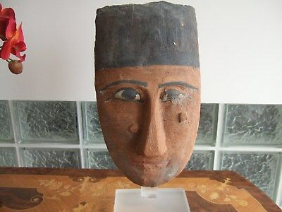 Ancient Egyptian Mummy Mask circa 1085 BC to 341 BC on custom lucite stand