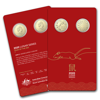 2020 Australia Uncirculated Lunar Year of the Rat Two-Coin Set - SKU#199180