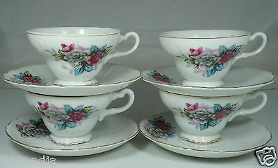 Vintage Cup Saucer Set 4 Pairs,White,Embossed,Pink Blue Flowers,Gold Rims