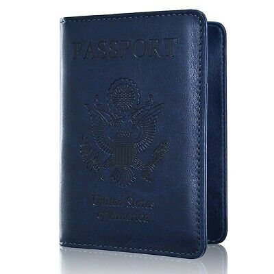 RFID Blocking Passport Leather Wallet Card Holder Case Securely Cover Travel