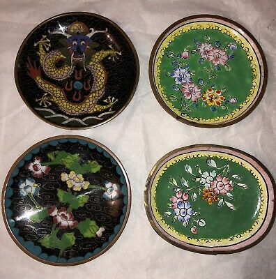 Lot Of 4 Chinese Cloisonne Small Trays Plates Foral Dragon Motif Vintage Antique