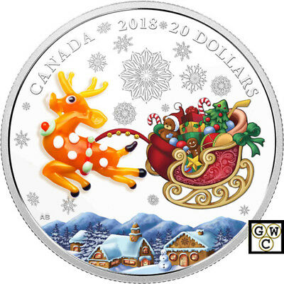 2018 'Holiday Reindeer (Murano Glass)Proof $20 Silver Coin 1oz .9999 Fine(18291)