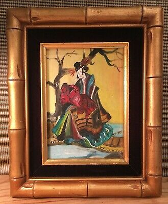 Vintage Asian Art Abstract Oil Painting Signed Original Only One Writing on Back