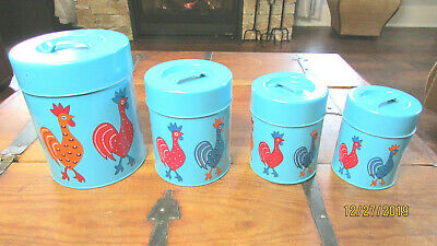 Mid Century 4 Pc Blue Canister Set Roosters Chickens Nevco British Hong Kong