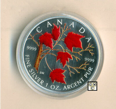 2004 Colorized Silver Maple Leaf 1oz .9999 Fine (Red Maple) (11023) (OOAK)