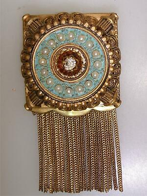Unique Antique Gold Wash Egyptian Revival Enamel Faux Pearl & Fringe Pin/Brooch!