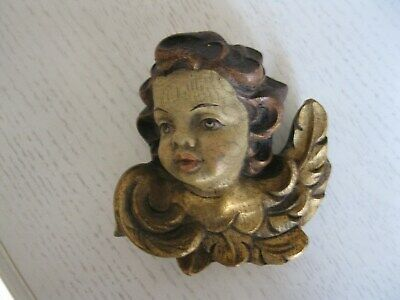 Antique Italian Carved Wood Angel Putti with Hand Painted Head &Gold Wings