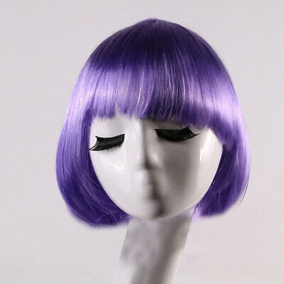 Women Short Straight Bob Hair Wig with Flat Bangs Cosplay Synthetic