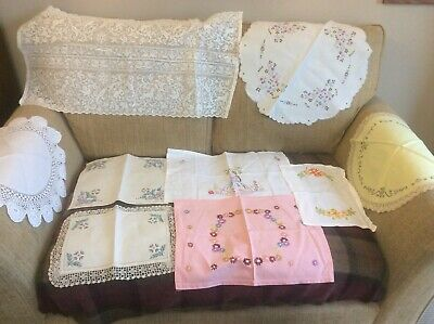 BEAUTIFUL COLLECTION Of 9 ANTIQUE VINTAGE EMBROIDERED LINEN & LACE PANEL