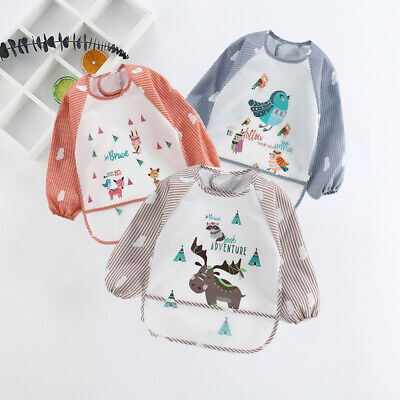 Baby Kids Printed Bibs With Full Long Sleeve Baby Toddler Weaning Feeding Apron