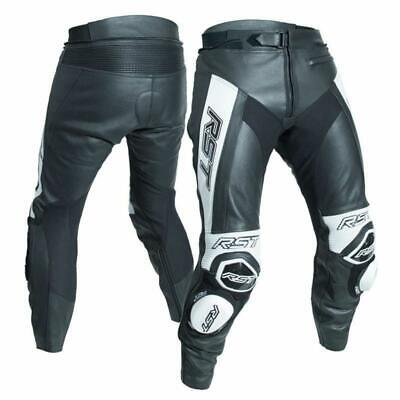 RST Tractech Evo R Leather Sports Motorcycle Motorbike Trousers - Black / White