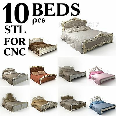 3d STL Model 10 Pcs Bed Collection for CNC Router Aspire Cut3d Artcam