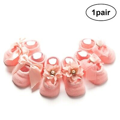 1 Pair Newborn Baby Girl Toddler Lace Frilly Bow Ankle Anti Slip Socks Set