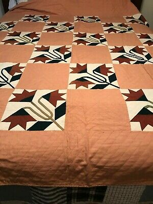 """""""TULIPS"""" 1920's Antique Quilt Hand Stitched 77""""x85"""""""